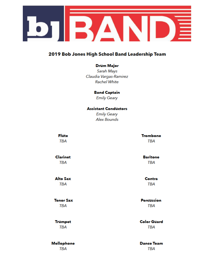 BJ Band leadership 2019
